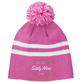 Team 365 Striped Pom Beanie
