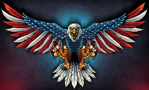 Large Size 10 Inches Eagle Fly American Flag Decals With