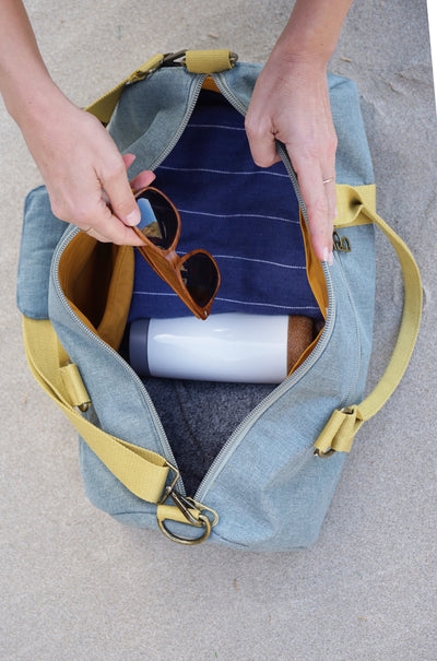 Overnight Duffle Bag</br>Chambray Canvas</br><small><i>(Cactus/ Sunset Gold)</i></small> - Meridian Lee