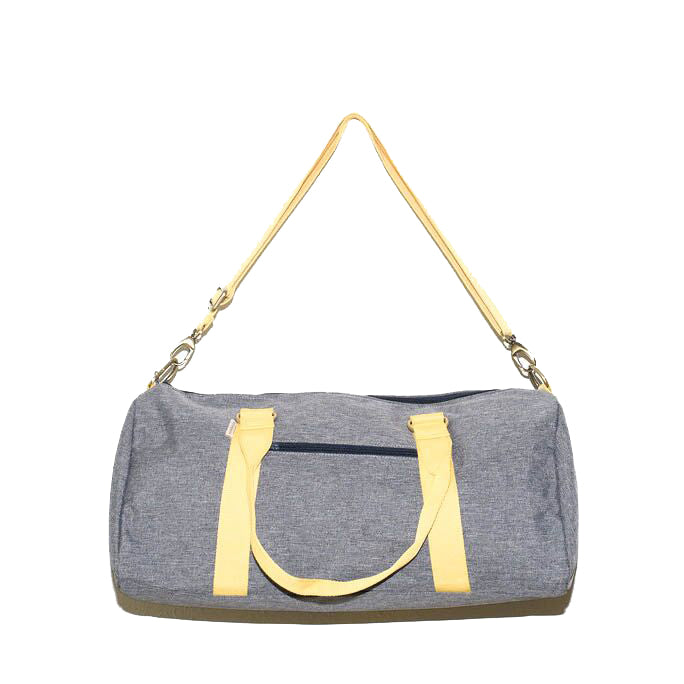 Overnight Duffle Bag</br>Chambray Canvas</br><small><i>(Light Grey/Lemon)</i></small> - Meridian Lee
