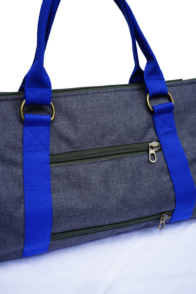 Overnight Duffle Bag</br>Chambray Canvas</br><small><i>(Charcoal/ Ultra Marine)</i></small> - Meridian Lee