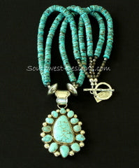 Carico Lake Turquoise and Sterling Silver 13-Stone Pendant with Kingman Turquoise Heishi and Sterling