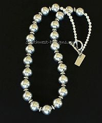 Handcrafted Sterling Silver Necklace with Sterling Silver Ornate Discs, Rounds and Toggle Clasp