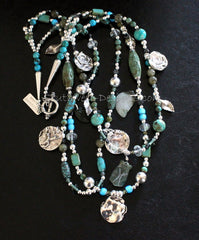 3-Strand Sterling Silver and Turquoise Artist Necklace with Jade Cylinders, Czech Glass and Reticulated Silver Coins