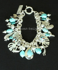 Turquoise & Sterling Silver 30-Piece Charm Bracelet with Sterling Two-by-Two Chain