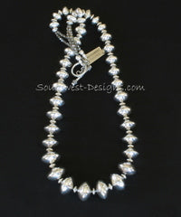 37-Piece Sterling Silver Rondelle Bead Necklace with Sterling Rondelles and Toggle Clasp
