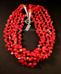 5-Strand Bamboo Coral Petal Necklace with Sterling Silver