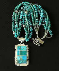 Kingman Turquoise and Sterling Silver Inlaid Pendant with 4 Strands of Turquoise, Jasper and Sterling