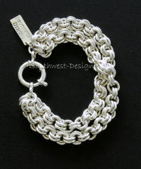 Sterling Silver Double Two-By-Two Link Bracelet with 18mm Sterling Spring Ring Clasp