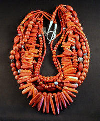 9-Strand Mixed Coral Necklace with Carnelian Agate, Czech Luster & Fire Polished Glass, White Heart Beads and Sterling Silver