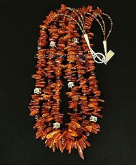 Amber Long Chip 3-Strand Necklace with Czech Luster Glass and Sterling Silver