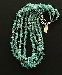 Blue Apatite Nugget 4-Strand Necklace with Crystal, Specialty Glass and Sterling Silver