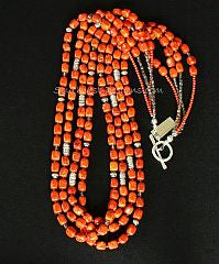 Apple Coral Cubes 4-Strand Necklace with Coral Rounds, Fire Polished Glass and Sterling Silver