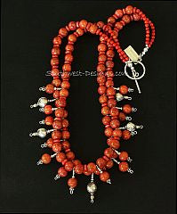 Apple Coral Rounds and Heishi 2-Strand Necklace with Sterling Silver and Apple Coral Charms