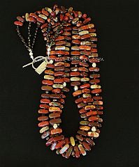 Apple Jasper Stick 3-Strand with Red Pote Beads and Sterling Silver