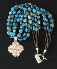 Aqua Terra Jasper Ovals 4-Strand Necklace with Sterling Silver Medallion, Beads & Toggle Clasp