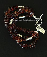 Baltic Amber Nugget 4-Strand Bracelet with Sterling Silver Cylinder Beads & Toggle Clasp
