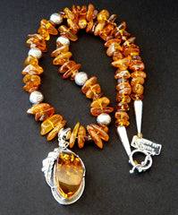 Baltic Amber & Sterling Silver Pendant with Golden Amber Nuggets, Cognac Amber Chip and Sterling