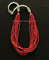 Bamboo Coral Coin Bead 9-Strand Necklace with Sterling Silver Beads and S-Clasp