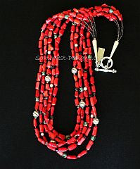 Bamboo Coral Cylinders 5-Strand Necklace with Czech Glass, Smoky Quartz and Sterling Silver