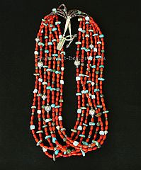 Bamboo Coral Ovals 7-Strand Necklace with Turquoise, Jade & Larimar Opals and Sterling Silver