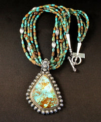 Royston Turquoise and Sterling Silver Pendant with 5 Strands of Turquoise & Sterling