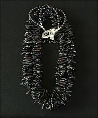Black Biwa Pearl 2-Strand Necklace with Black Round Pearls and Hammered Sterling Silver Toggle Clasp