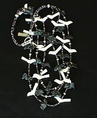 42-Piece Black Horn and Bone Talisman Necklace with Oyster Shell Heishi, Indonesian Glass & Sterling Silver
