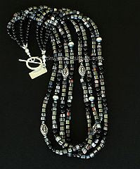 Black Indonesian Glass 4 Strand Necklace with Onyx, Hematite and Sterling Silver