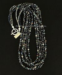 Black Keishi Pearl 5-Strand Necklace with Sterling Silver