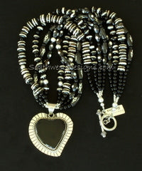 Onyx & Sterling Silver Heart Pendant with Hand-Painted Horn Beads, Onyx & Sterling
