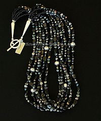 Black Pearl & Hypersthene 6-Strand Necklace with Sterling Silver Beads, Cones & Toggle Clasp