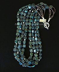 Kyanite Squares 4-Strand Necklace with Swarovski Crystal, Pyrite and Oxidized Sterling Silver Rounds