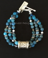 Blue Apatite Rounds 3-Strand Bracelet with Fire Polished Glass and Ornate Sterling Silver