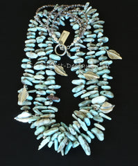 Larmimar Opal Spike 3-Strand Necklace with Sterling Silver Leaf Charms, Beads and Toggle Clasp