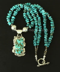 Blue Vein Turquoise and Reticulated Silver Pendant with 2 Strands of Arizona Turquoise Nuggets and Sterling Silver