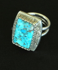 Bonita Blue Turquoise and Textured Sterling Silver Ring with Notched Bezel and 3-Wire Sterling Band