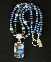 Boulder Opal and Sterling Silver Repousse Pendant with 2 Strands of Blue Dumortierite and Sterling Silver