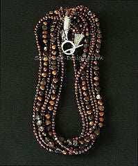 Bronze Nugget Pearl 5-Strand Necklace with Czechoslovakian Nailheads and Ornate Sterling Silver