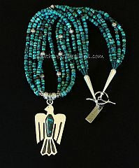 Chrysocolla-Malachite and Sterling Silver Thunderbird Pendant with 5 Strands of Turquoise and Sterling Silver