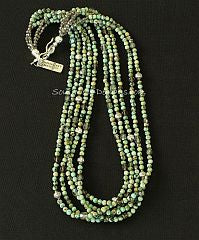 Chrysocolla Rounds 5-Strand Necklace with Crystal, Fire Polished Glass and Sterling Silver