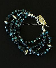 Chrysocolla Rounds 4-Strand Bracelet with Crystal, Fire Polished Glass and Oxidized Sterling Silver Rondelles