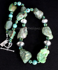 Chrysoprase Large Nugget Necklace with Turquoise Rounds, Picasso Turquoise Glass and Sterling Silver