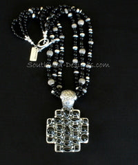 Onyx and Sterling Silver Cross Pendant with 3 Strands of Onyx, Oxidized Sterling Silver Beads and Sterling Silver