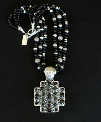 Dan Dodson Onyx and Sterling Silver Cross Pendant with 3 Strands of Onyx & Sterling Silver