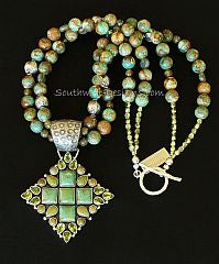 29-Stone Turquoise, Peridot and Sterling Pendant with 2 Strands of Royston Boulder Turquoise and Sterling