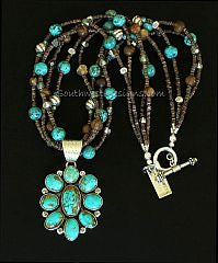 9-Stone Turquoise and Sterling Silver Pendant with 4 Strands of Turquoise, Amber Quartz and Sterling Silver