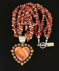 Dan Dodson Spiny Oyster Shell & Sterling Silver Heart Pendant with Spiny Oyster Shell Nuggets & Sterling