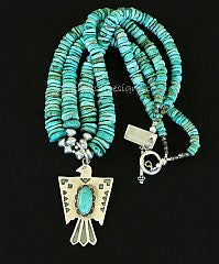 Turquoise and Sterling Silver Thunderbird Pendant with 2 Strands of Turquoise Round Disc