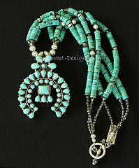 44-Stone Turquoise and Sterling Silver Naja Pendant with 3 Strands of Turquoise Heishi and Sterling